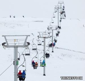 Ski lift in Scotland